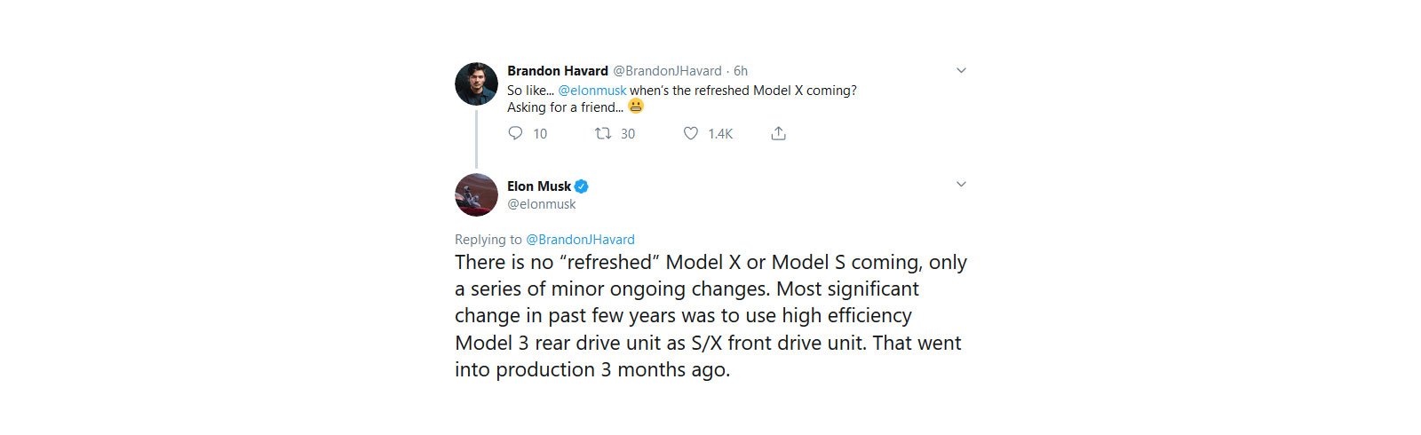 "Elon Musk: no ""refreshed"" Model X or Model S coming"