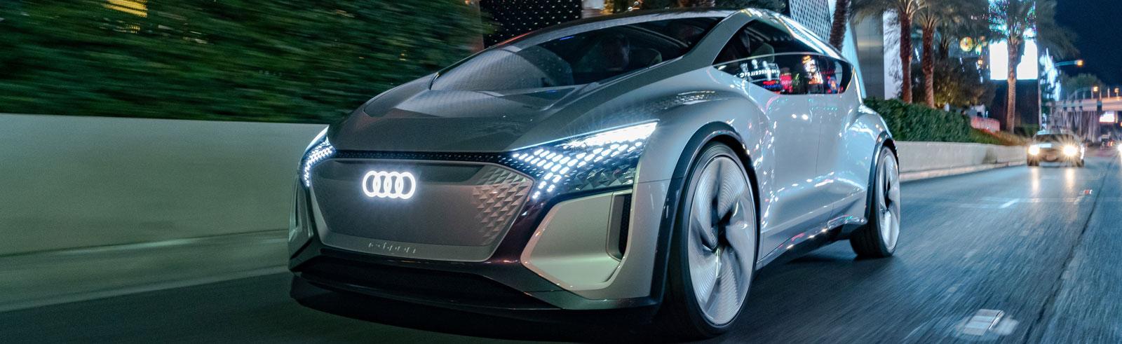 Audi AI:ME concept, Q4 e-tron concept and E-Tron Sportback are on display at CES 2020