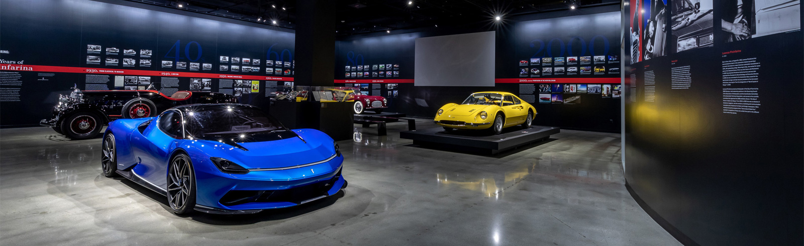 The all-electric Pininfarina Battista Hyper GT exhibited at the Petersen Museum