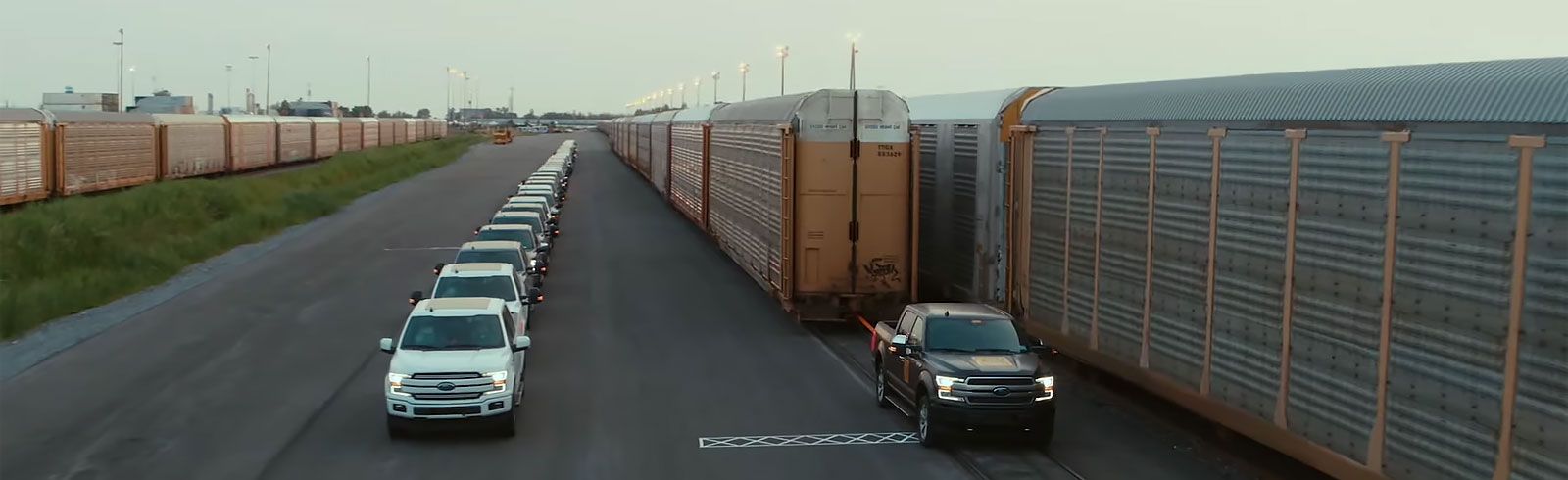 Ford demonstrates an all-electric F-150 truck prototype towing 1.25 million lbs