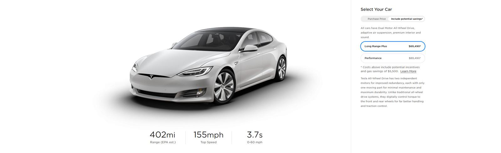 2020 Tesla Model S Long Range Plus gets an increase in range to 402 miles (EPA)